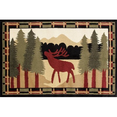 Auten Black/Burgundy Area Rug Rug Size: Rectangle 27 x 41