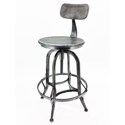 Arthur Adjustable Height Swivel Bar Stool Frame Finish: Vintage Pewter