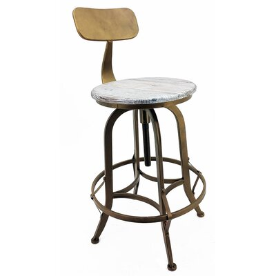 Arthur Adjustable Height Swivel Bar Stool Frame Finish: Copper