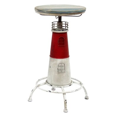 Nautical Cape Cod Lighthouse Adjustable Height Pub Table Color: Red