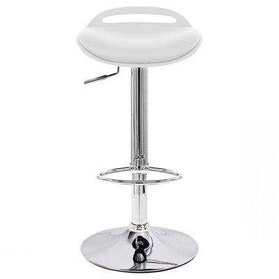 Beckham Adjustable Height Swivel Bar Stool Upholstery: White