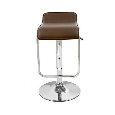 Omega Adjustable Height Swivel Bar Stool Upholstery: Brown