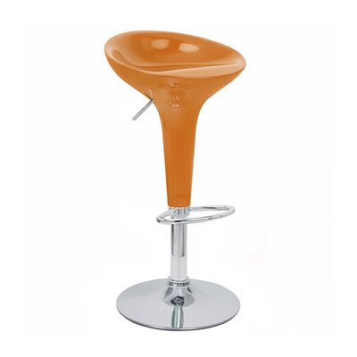 Alpha Adjustable Height Swivel Bar Stool Upholstery: Orange