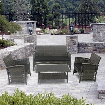 Modern Home Del Mar Woven Wicker 4 Piece Deep Seating Group Color: Black