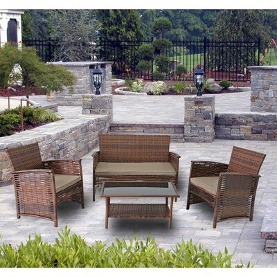Modern Home Del Mar Woven Wicker 4 Piece Deep Seating Group Color: Brown
