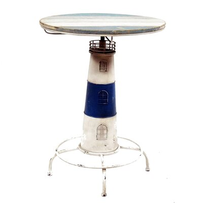 Nautical Cape Cod Lighthouse Adjustable Height Pub Table Finish: Blue