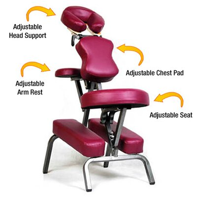Ataraxia Leather Portable Massage Chair Color: Burgundy