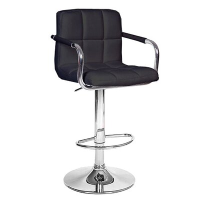 Ivan Adjustable Height Swivel Bar Stool Upholstery: Black