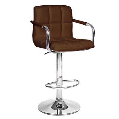 Ivan Adjustable Height Swivel Bar Stool Upholstery: Brown