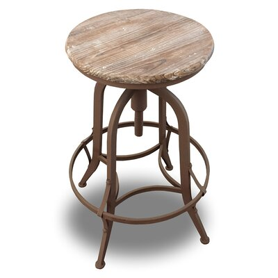 Chester Adjustable Height Swivel Bar Stool Finish: Fire Brown