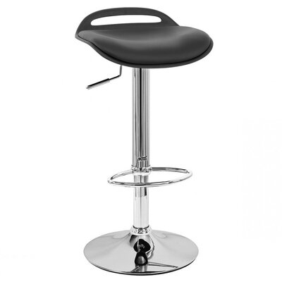 Beckham Adjustable Height Swivel Bar Stool Upholstery: Black