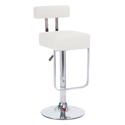 Blok Adjustable Height Swivel Bar Stool Upholstery: White