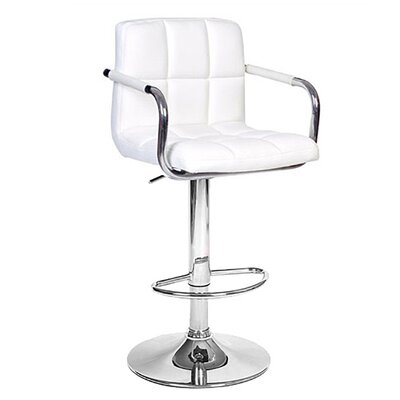 Ivan Adjustable Height Swivel Bar Stool Upholstery: White