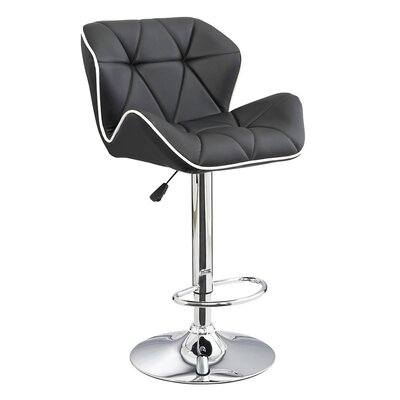 Spyder Adjustable Height Swivel Bar Stool Upholstery: Black/Black