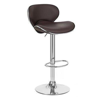 Kappa Adjustable Height Swivel Bar Stool Upholstery: Brown