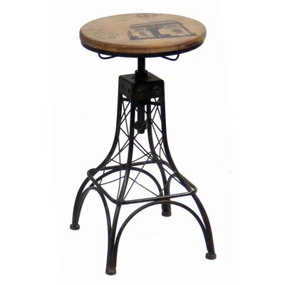 Parisian Eiffel Tower 3 Piece Adjustable Height Bar Stool Set