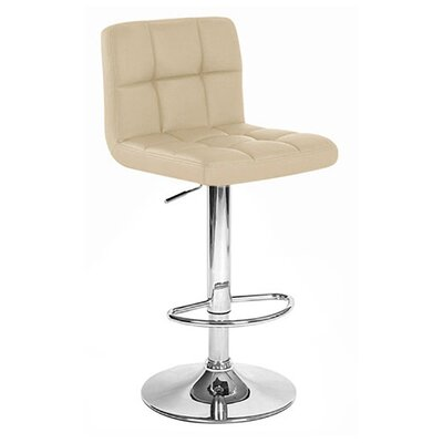 Boris Adjustable Height Swivel Bar Stool Upholstery: Cream