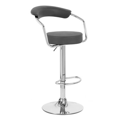 Zool Adjustable Height Swivel Bar Stool Upholstery: Black