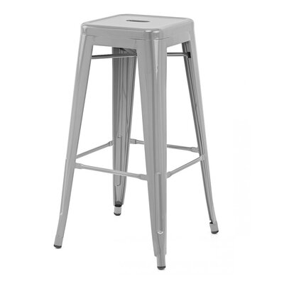 Ajax Bar Stool Finish: Matte Silver