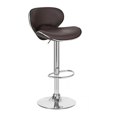 Kappa Adjustable Height Swivel Bar Stool Upholstery: Brown