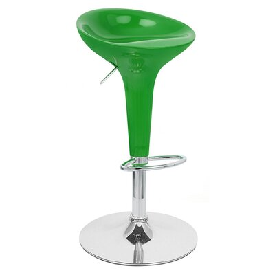 Alpha Adjustable Height Swivel Bar Stool Upholstery: Green