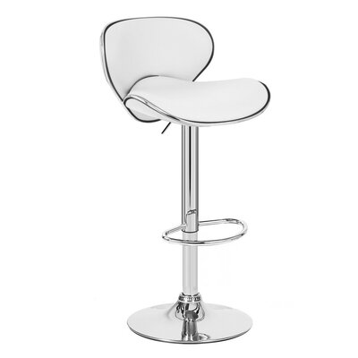Kappa Adjustable Height Swivel Bar Stool Upholstery: White