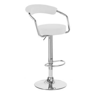 Zool Adjustable Height Swivel Bar Stool Upholstery: White