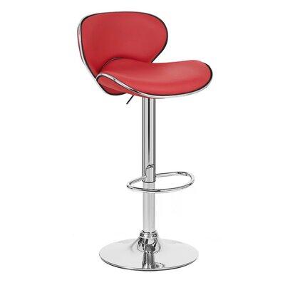 Kappa Adjustable Height Swivel Bar Stool Upholstery: Red