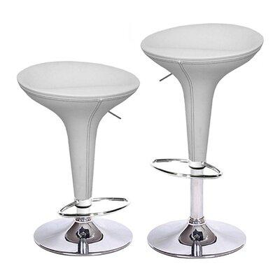 Alpha Adjustable Height Swivel Bar Stool Upholstery: White