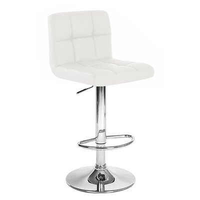 Boris Adjustable Height Swivel Bar Stool Upholstery: White