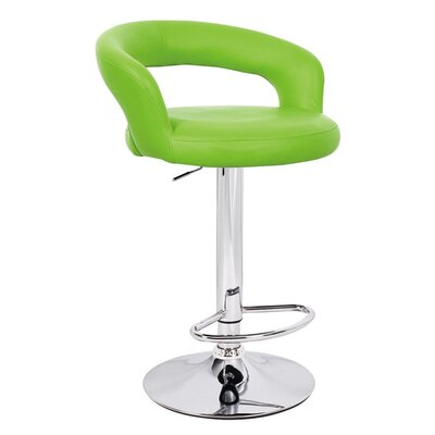 Halo Adjustable Height Swivel Bar Stool Upholstery: Lime