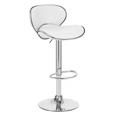 Kappa Adjustable Height Swivel Bar Stool Upholstery: Vanilla White