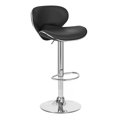 Kappa Adjustable Height Swivel Bar Stool Upholstery: Black
