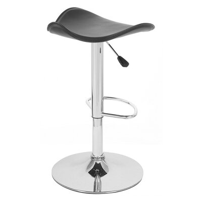 Gamma Adjustable Height Swivel Bar Stool Upholstery: Black