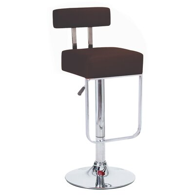 Blok Adjustable Height Swivel Bar Stool Upholstery: Brown