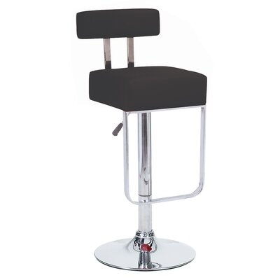 Blok Adjustable Height Swivel Bar Stool Upholstery: Black