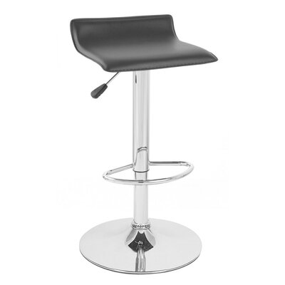 Sigma Adjustable Height Swivel Bar Stool Upholstery: Black