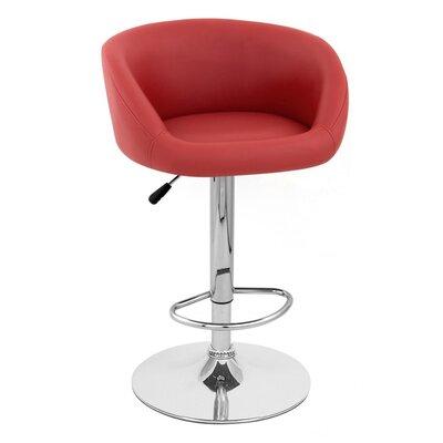 Sasha Adjustable Height Swivel Bar Stool Upholstery: Red