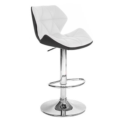 Spyder Adjustable Height Swivel Bar Stool Upholstery: Black/White