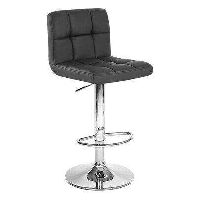Boris Adjustable Height Swivel Bar Stool Upholstery: Black