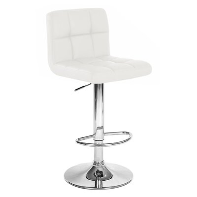 Boris Adjustable Height Swivel Bar Stool Upholstery: Vanilla White