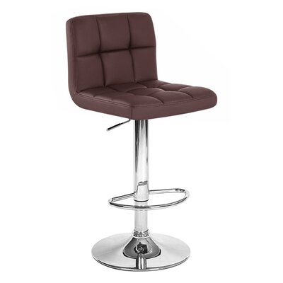 Boris Adjustable Height Swivel Bar Stool Upholstery: Brown