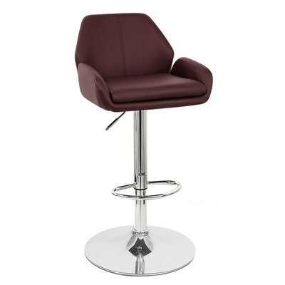 Tesla Adjustable Height Swivel Bar Stool Upholstery: Brown