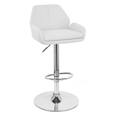 Tesla Adjustable Height Swivel Bar Stool Upholstery: White
