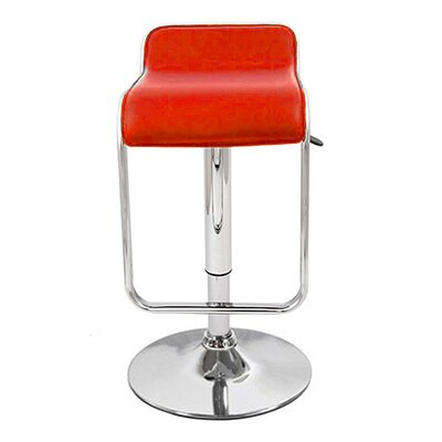 Omega Adjustable Height Swivel Bar Stool Upholstery: Red