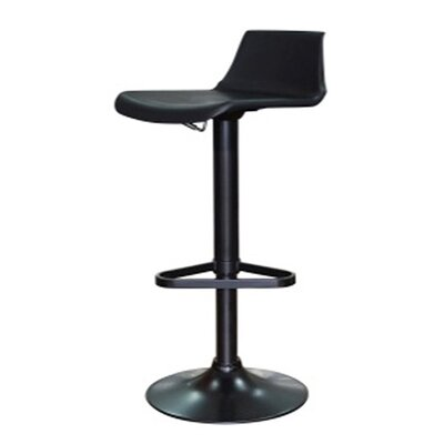 Tiglion Adjustable Height Swivel Bar Stool Upholstery: Black