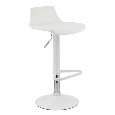 Tiglion Adjustable Height Swivel Bar Stool Upholstery: White