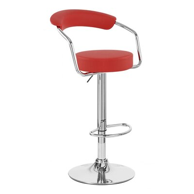 Zool Adjustable Height Swivel Bar Stool Upholstery: Red
