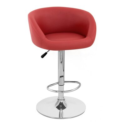 Sasha Adjustable Height Swivel Bar Stool Upholstery: Red