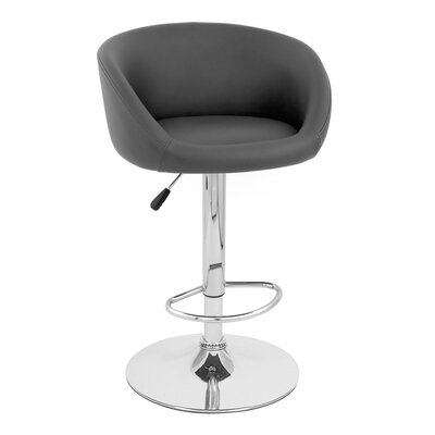 Sasha Adjustable Height Swivel Bar Stool Upholstery: Black
